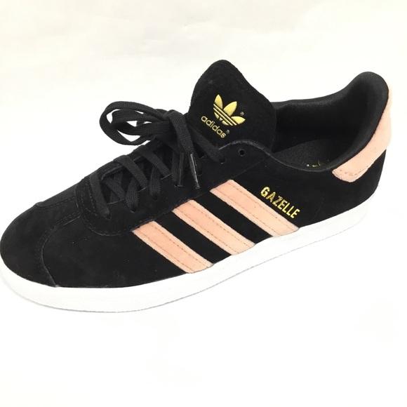 size 40 fb8a9 00b83 Adidas Gazelle Shoe Black Suede Pink Velvet Sz 6.5